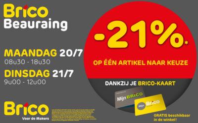 -21%* op één artikel naar keuze in Brico Beauraing