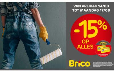 """Vanaf 14 augustus, profiteer van -15%* op alles dankzij uw """"Mon Brico"""" -kaart"""
