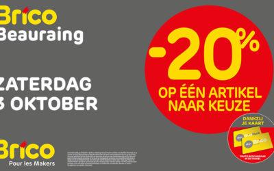 -20%* op één artikel naar keuze deze zaterdag 3 oktober